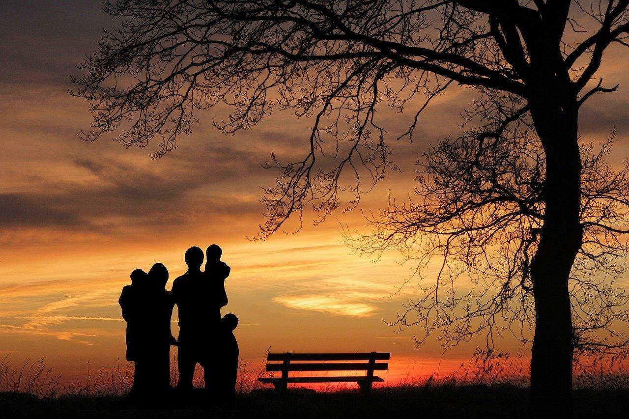 family, sunset, woman