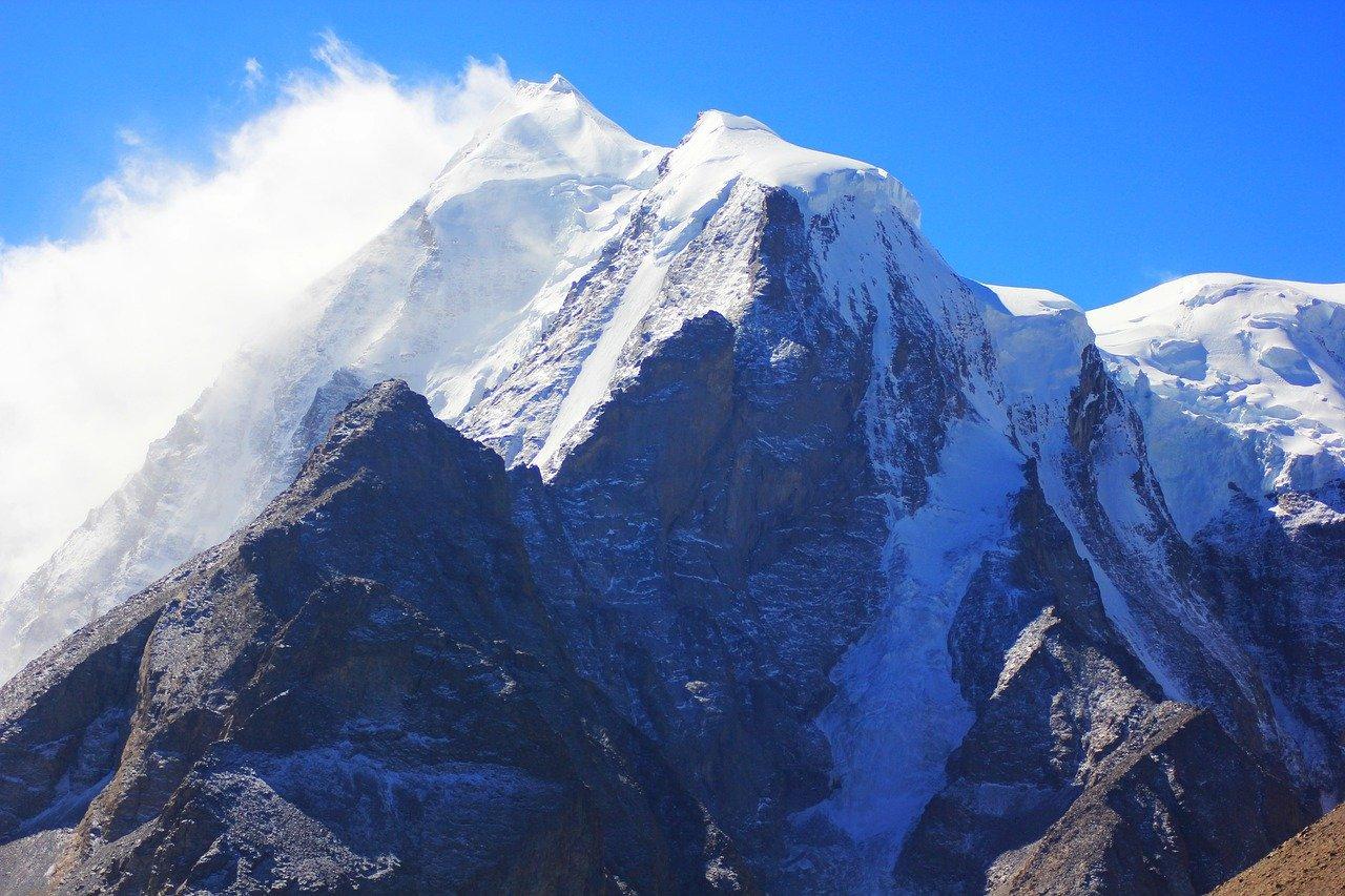 mountain, peak, snow